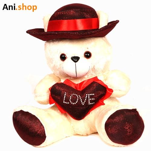 عروسک خرس قلب به دست کلاه دار کد 702